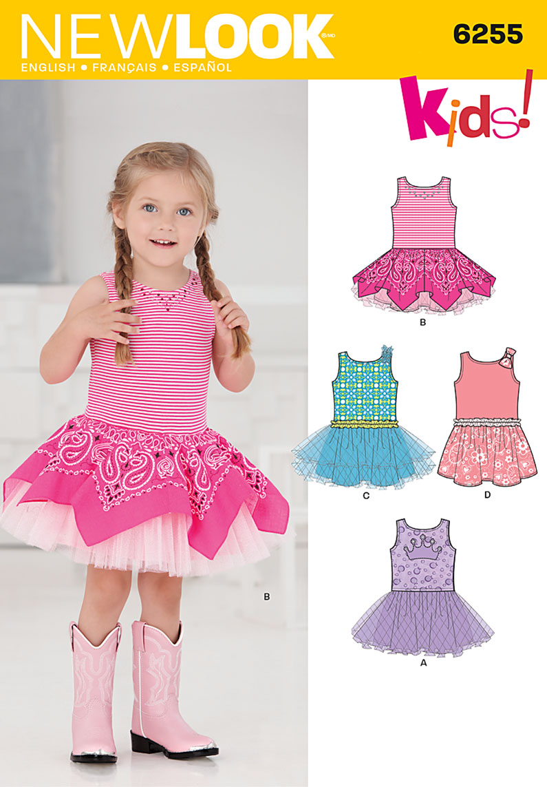 New Look Toddlers' Dress with Knit Bodice 6255