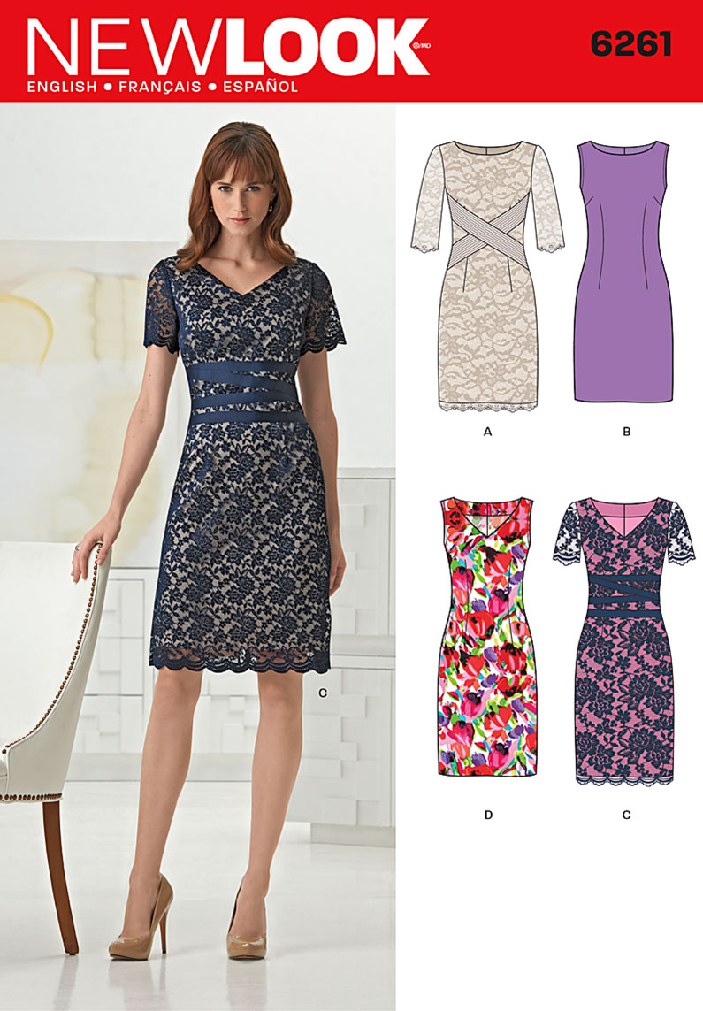 New Look Misses' Dresses with neck line variations 6261