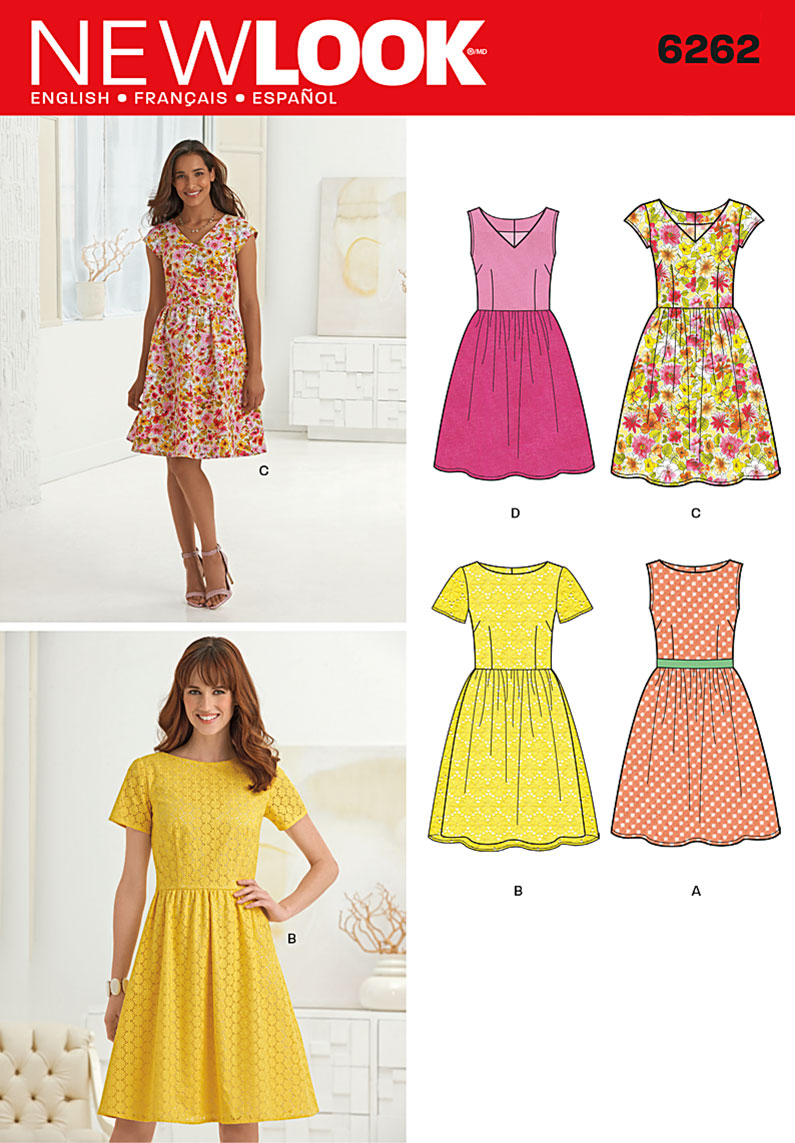 New Look Misses' Dress with Neckline Variations 6262