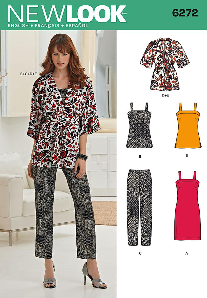 New Look Misses' Dress or Top, Slim Pants, Kimono and Belt 6272