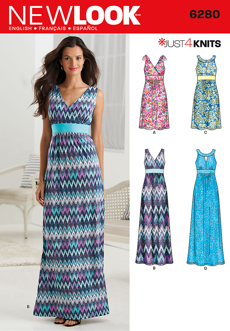 Knit Maxi Dress Pattern : New Look 6280 Misses Knit Dress in Two Lengths with Bodice Variations se...