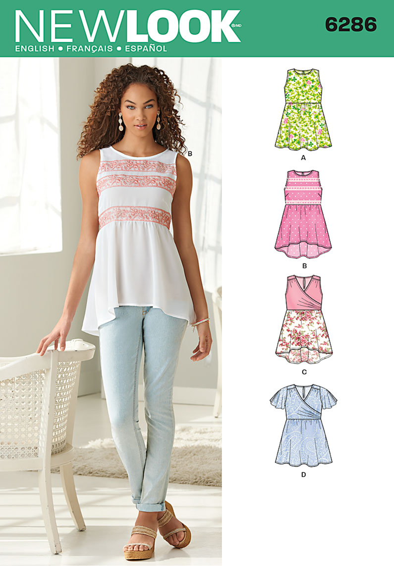 New Look Misses' Pullover Tops with Hemline Variations 6286