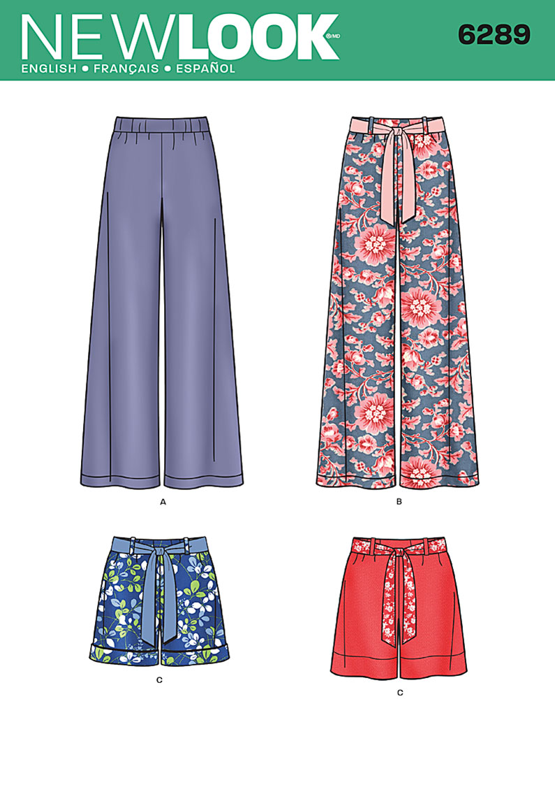New Look Misses' Pull-on Pants or Shorts and Tie Belt 6289
