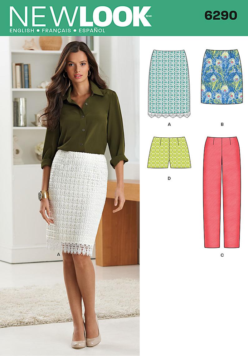 NEW LOOK Sewing Pattern Miss Ladies Womens Skirts+Pants
