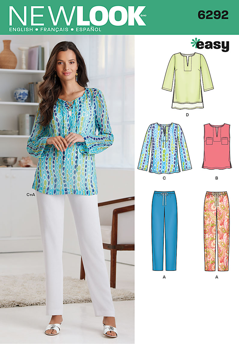 New Look Misses' Tunic or Top and Pull-on Pants 6292