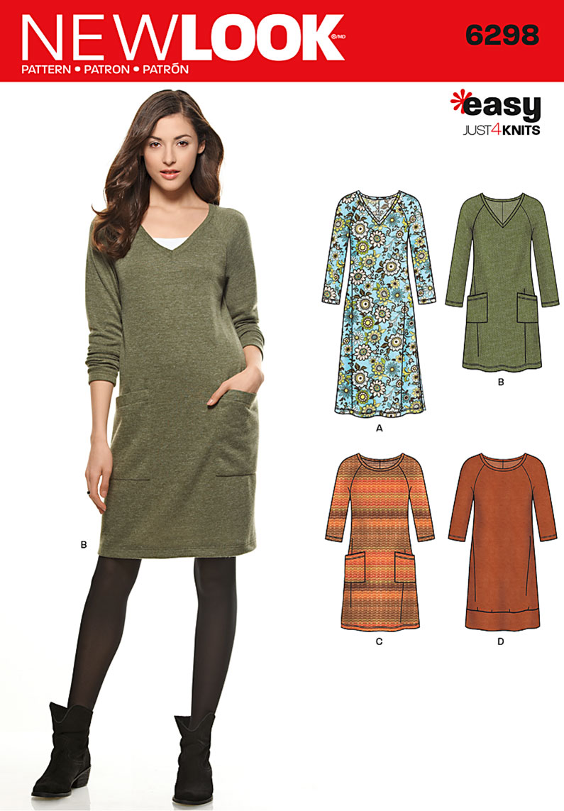 New Look Misses' Knit Dress with Neckline & Length Variations  6298