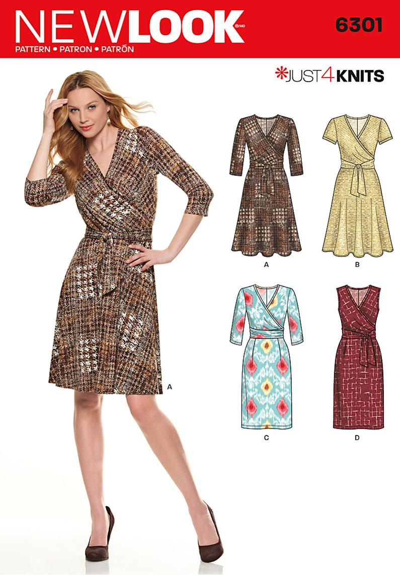 Knitting Pattern Wrap Dress : New Look 6301- Misses Mock Wrap Knit Dress
