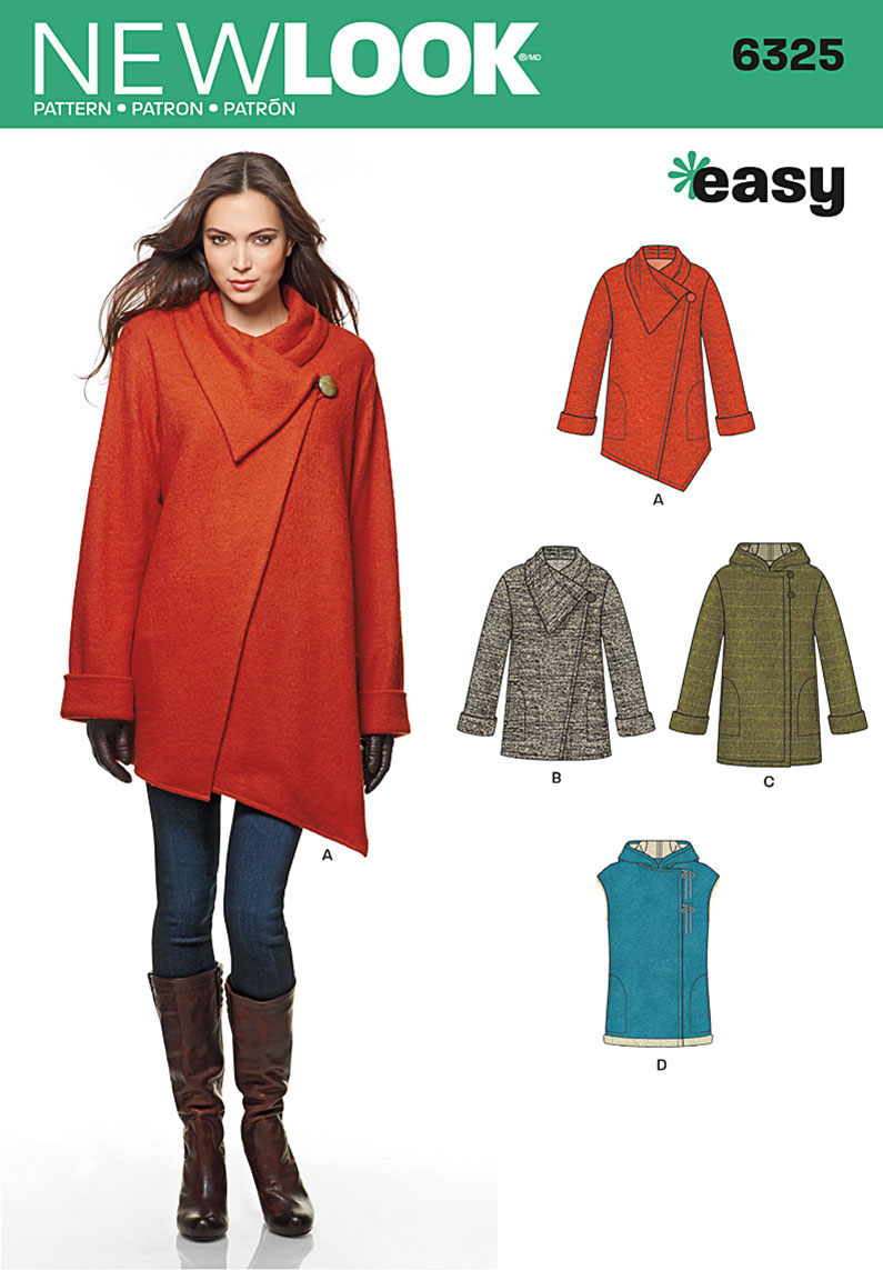New Look 6325 Misses Easy Coat With Length And Front