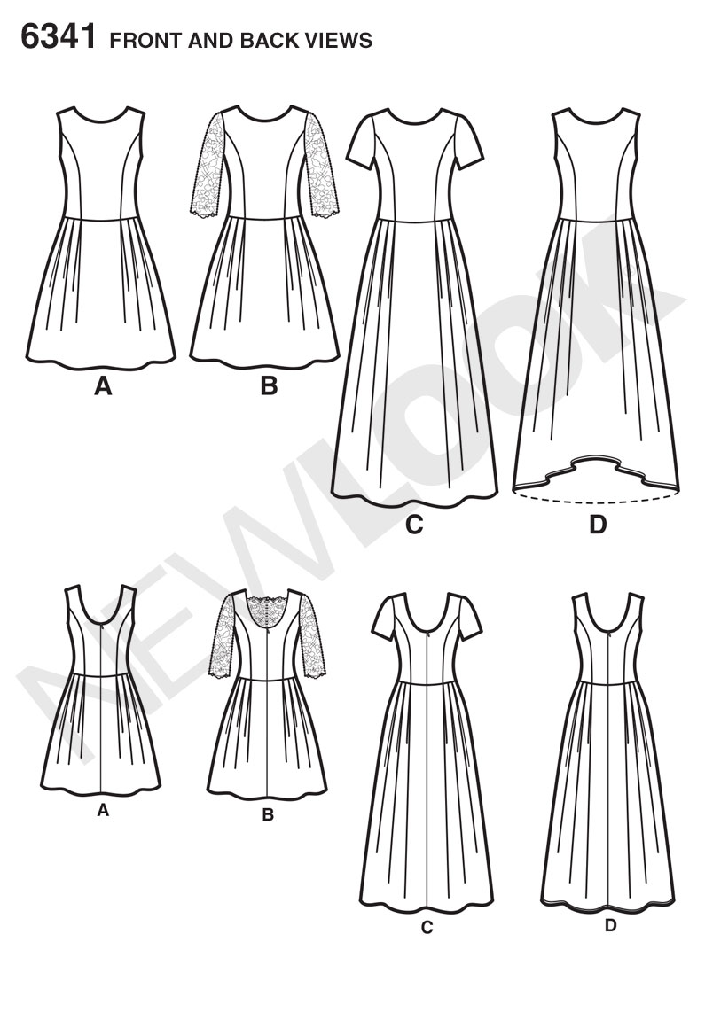 new look 6341 misses u0026 39  dress in three lengths sewing pattern