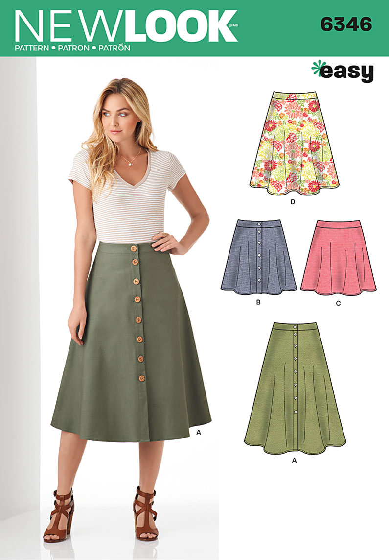 new look 6346 misses easy skirts in three lengths sewing
