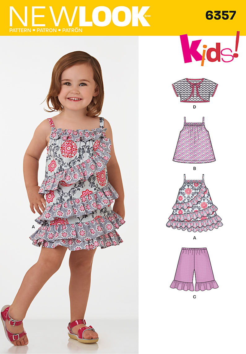 New look 6357 toddlers dress top shorts and bolero sewing pattern