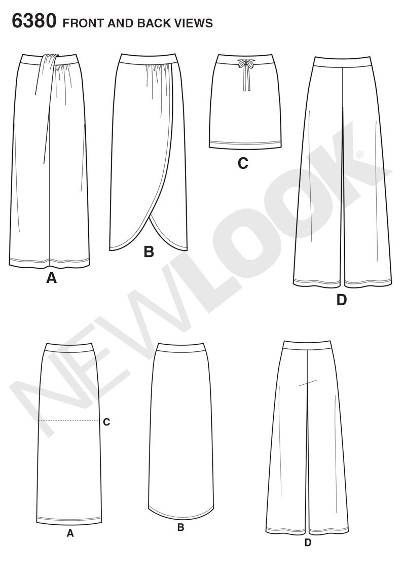 New Look 6380 Misses Knit Skirts and Pants sewing pattern