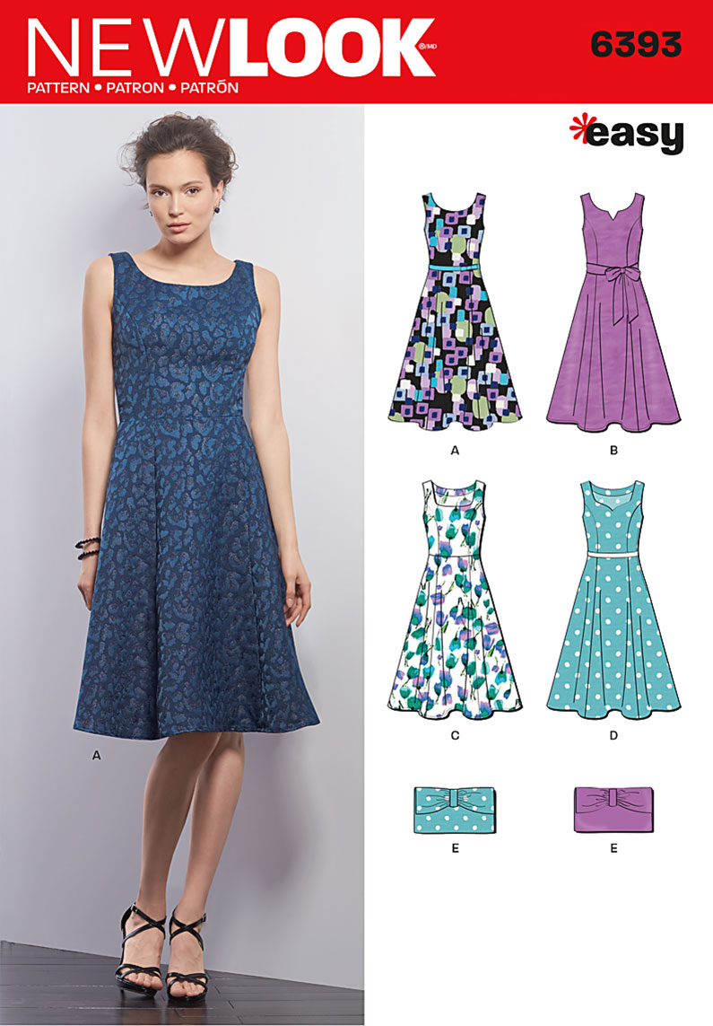 New Look 6393 Misses Dresses And Purse Sewing Pattern