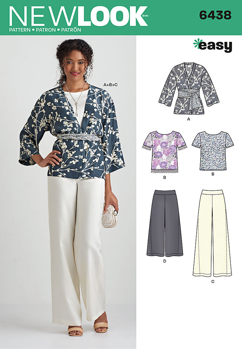New Look 6438 Misses Easy Pants Kimono And Top Sewing