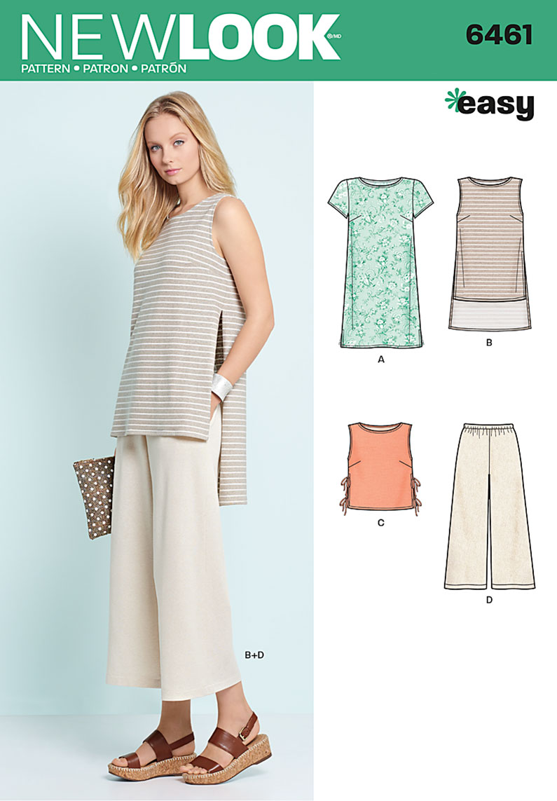 New Look 6461 Misses Dress Tunic Top And Cropped Pants
