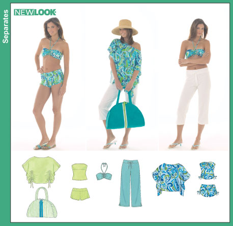 New Look Misses Swimsuit or Top and Shorts, Capri Pants, Poncho Top and Tote Bag 6469