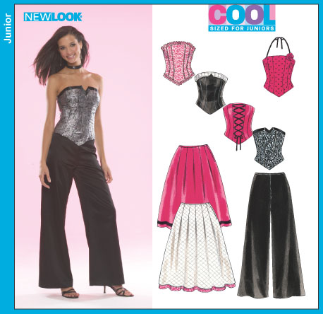 new look 6480 juniors corset top pants and skirt sewing