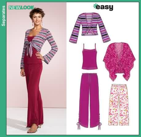 New Look Misses Pants and Knit Shrug, Tank Top and Poncho 6543