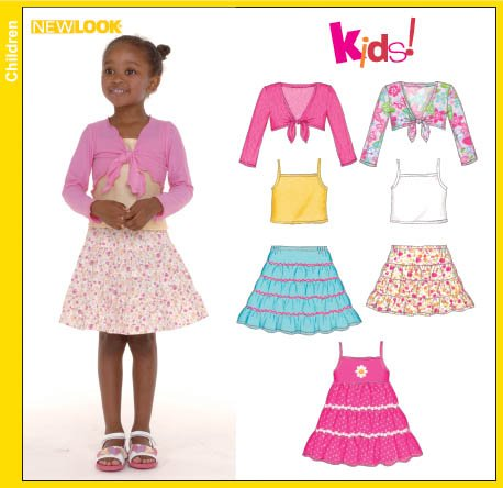 New Look Child Sundress, Skirt, and Knit Shrug & Tank Top 6582
