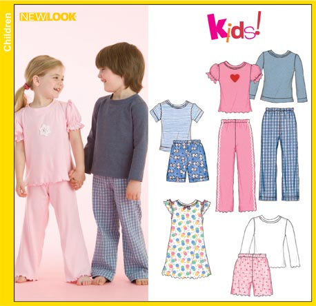 New Look Unisex Child Lounge Pants, Shorts and Knit Tops and Nightgown 6641