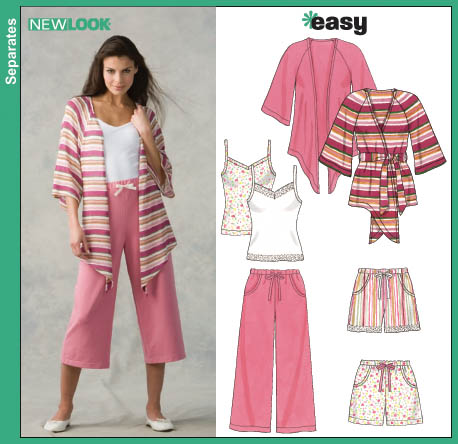 New Look Misses Cropped Pants, Shorts, Knit Cover-Up Top and Tank Top 6651