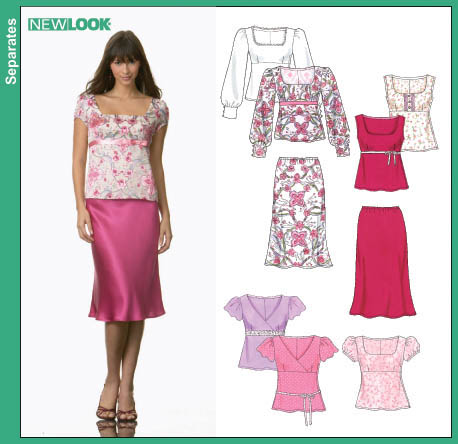 New Look Misses Tops and Bias Skirt 6669