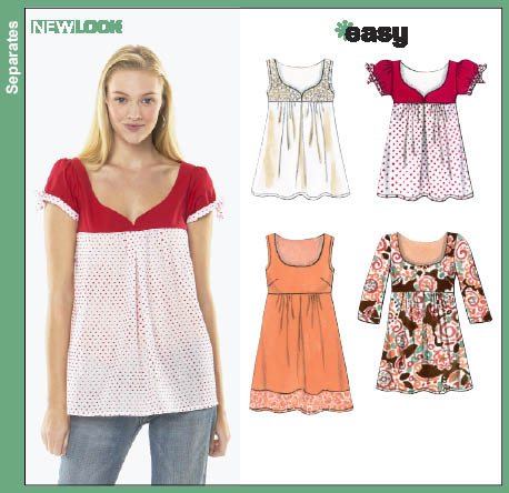 Patterns new look dresses tops 6784 misses top or mini dress new look