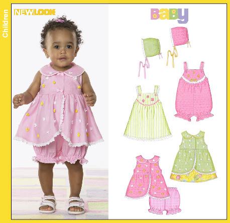 New Look Babies Romper Dress Overdress Panties and Bonnett 6794