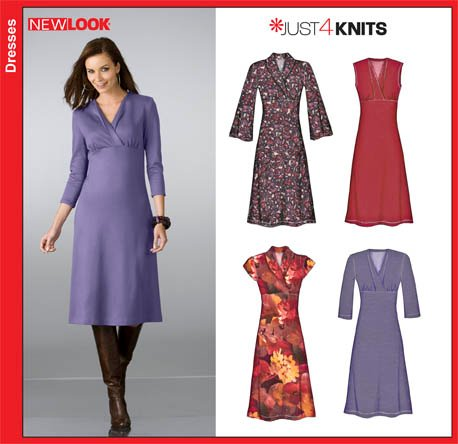 Knit Dress Sewing Pattern : New Look 6823- Misses Knit Dresses