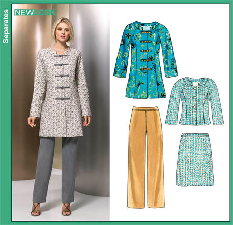 New Look   Misses Skirt, Pants and Lined Coat or Jacket 6855