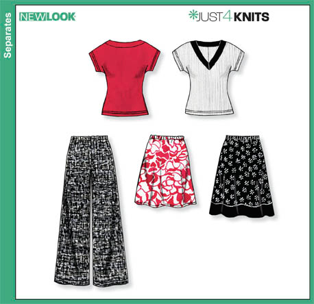 New Look   Misses Knit Tops, Skirts and Pants 6856