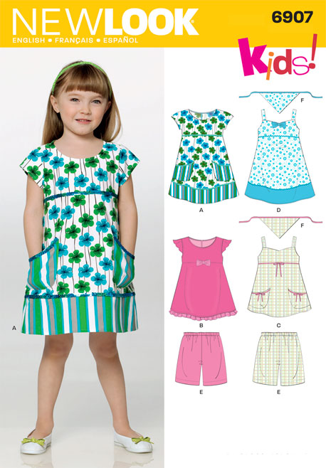 New Look Child Dress, Top, Shorts and Scarf 6907