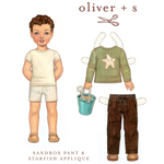 Oliver + S Sandbox Pants + Starfish Stencil Digital Pattern( Size 6m-3T) )