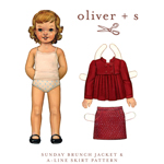 Oliver + S Sunday Brunch Jacket + A-Line Skirt Digital Pattern ( Size 6m-3T )