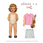 Oliver + S Music Class Blouse + Skirt Digital Pattern ( Size 6m-4 )