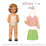 Oliver + S Hopscotch Skirt, Knit Top & Dress Digital Pattern ( Size 5-12 )