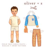 Oliver   S Field Trip Cargo Pants and Raglan T-Shirt Digital Pattern ( Size 6m-4 )