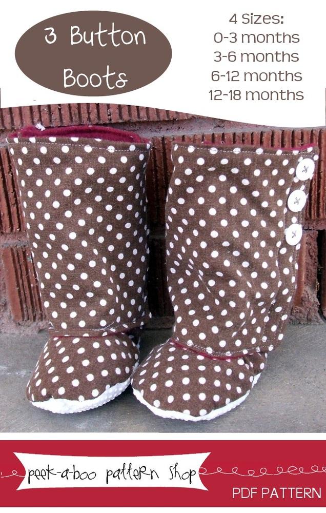 Peek-a-Boo Pattern Shop 3 Button Boots 3 Button Boots