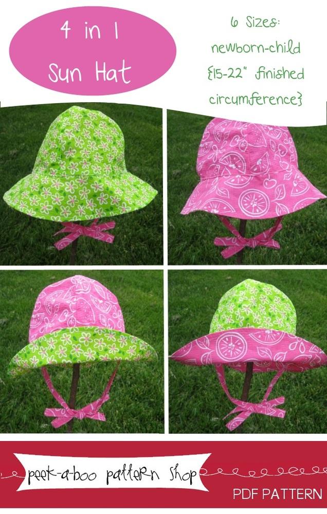 Peek-a-Boo Pattern Shop 4 in 1 Sun Hat Downloadable Pattern 4 in 1 Sun Hat