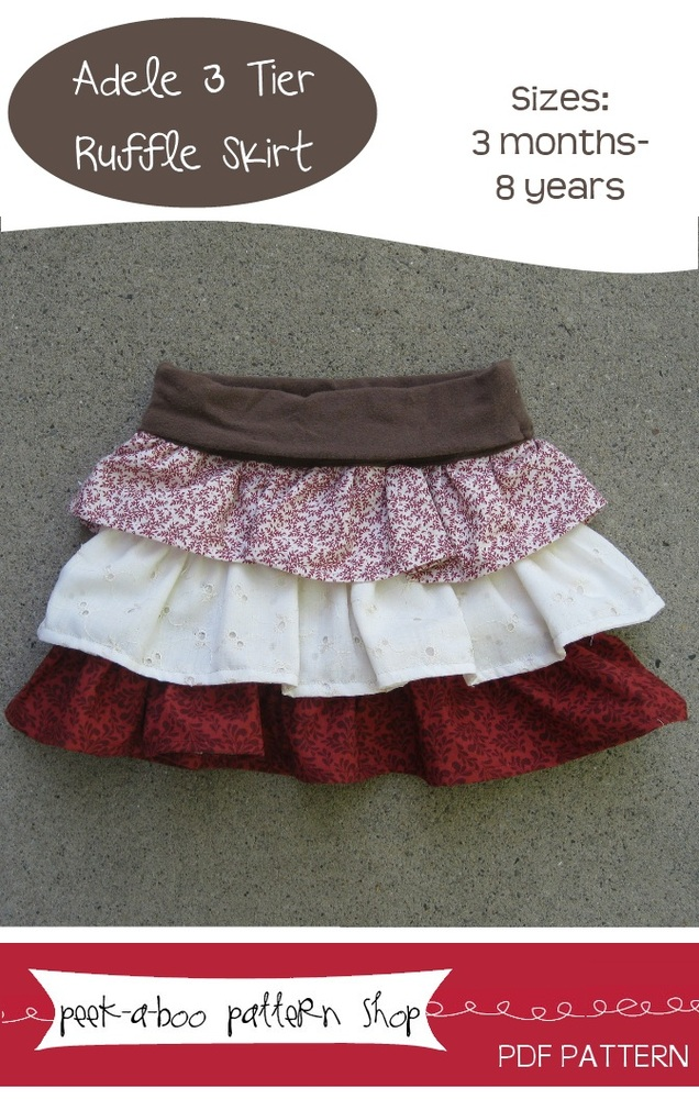 Peek-a-Boo Pattern Shop Adele 3 Tier Ruffle Skirt Downloadable Pattern Adele 3 Tier Ruffle Skirt