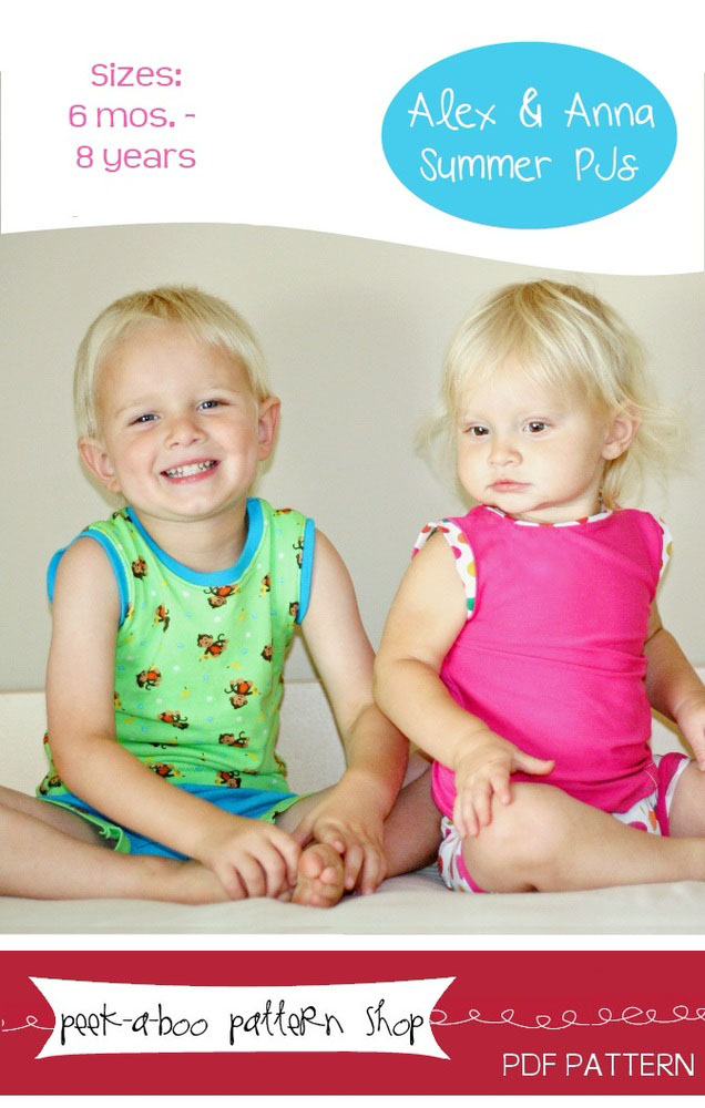 Peek-a-Boo Pattern Shop Alex & Anna Summer PJs Downloadable Pattern Alex & Anna Summer PJs