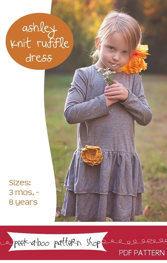 Peek-a-Boo Pattern Shop Ahsley Knit Ruffle Dress Downloadable Pattern Ahsley Knit Ruffle Dress