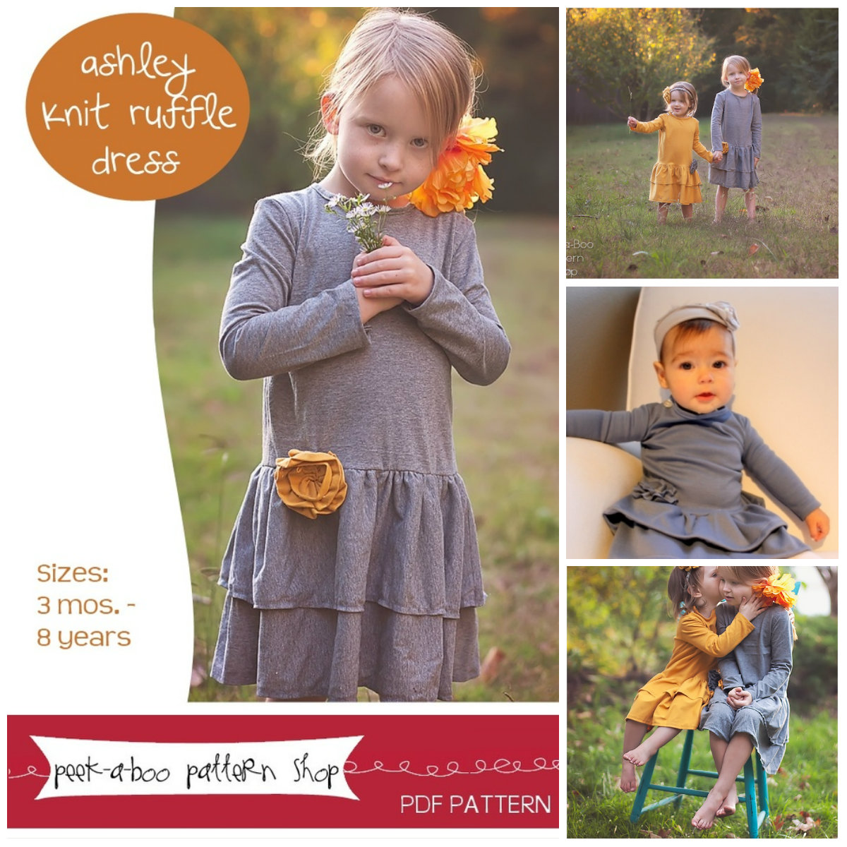 Peek-A Boo Ahsley Knit Ruffle Dress Digital Pattern ( Size 3 mo -8 years )
