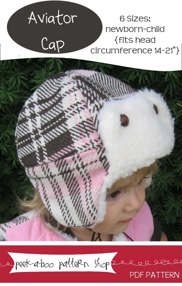 Peek-a-Boo Pattern Shop Aviator Cap Downloadable Pattern Aviator Cap