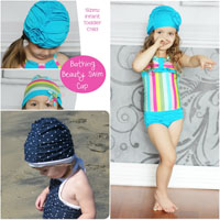 Peek-A Boo Bathing Beauty Swim Cap Digital Pattern ( Size infant- toddler- child )