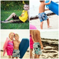 Peek-A Boo Beach Bum Bermuda Shorts Digital Pattern ( Size 3 mo -8 years )