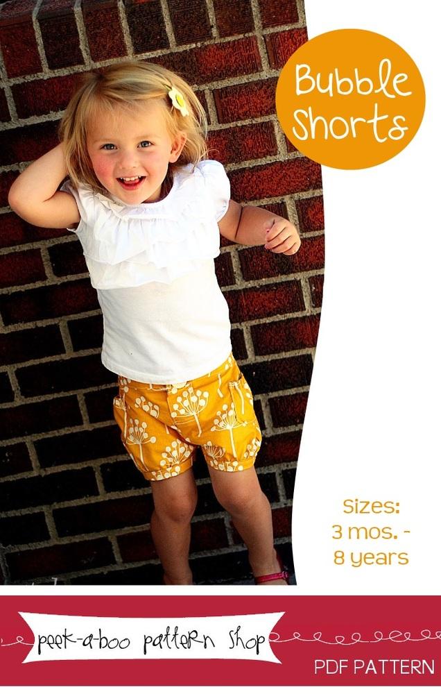 Peek-a-Boo Pattern Shop Bubble Shorts Downloadable Pattern Bubble Shorts