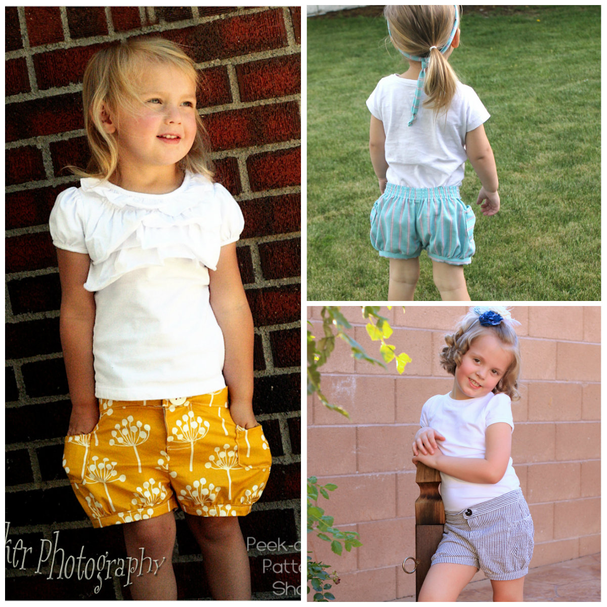 Peek-A Boo Bubble Shorts Digital Pattern ( Size 3 mo -8 years )