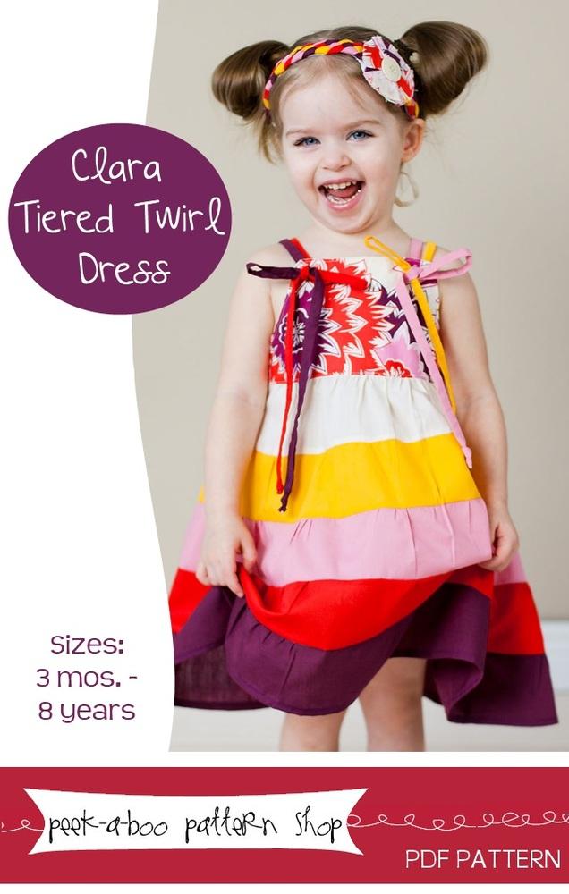 Peek-a-Boo Pattern Shop Clara Twirl Dress Downloadable Pattern Clara Twirl Dress