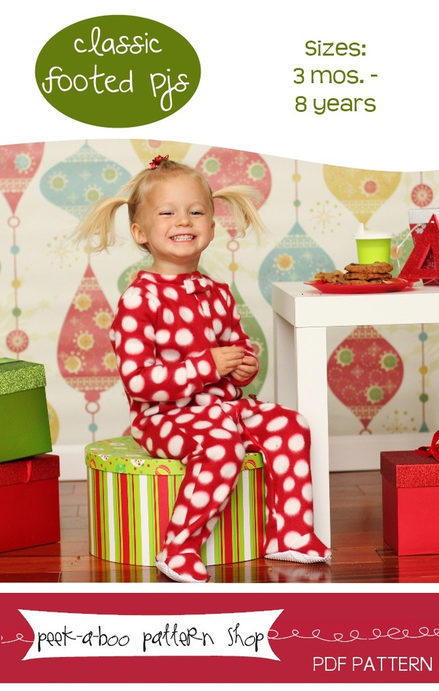 Peek-a-Boo Pattern Shop Classic Footed Pajamas Downloadable Pattern Classic Footed Pajamas